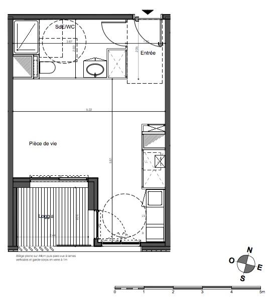 Parc rivière - Studio de 31,7 m2 avec loggia