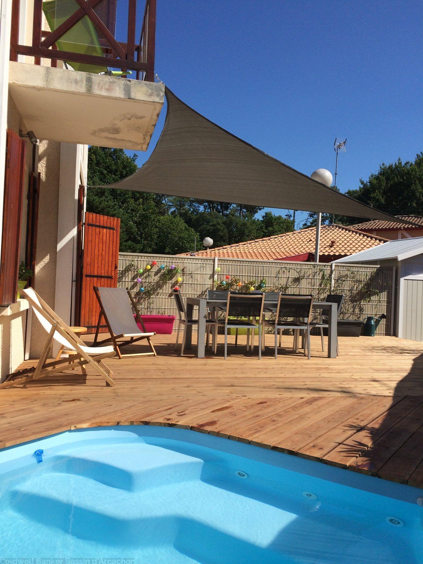Achat maison idéale pied a terre avec jardin et piscine proche plage arcachon le moulleau