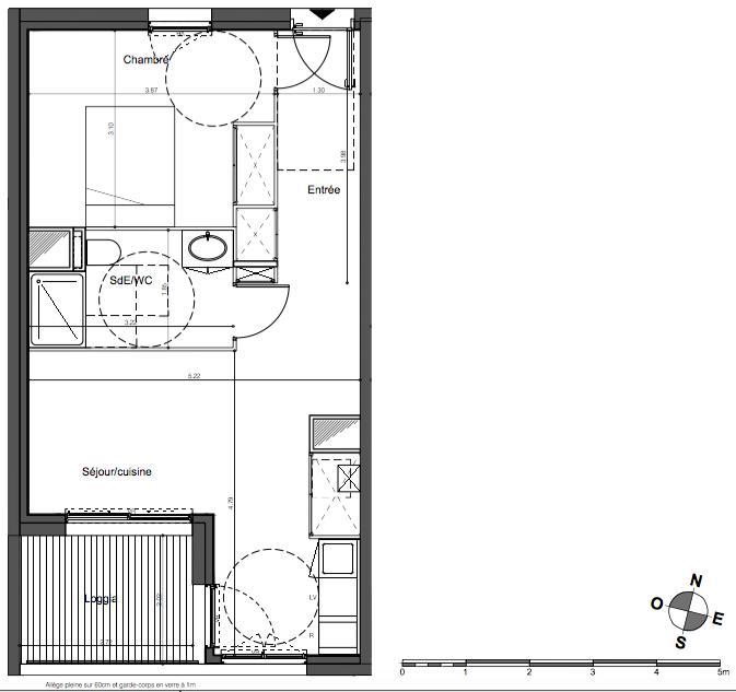 Parc Rivière - T2 de 43 m2 avec loggia et parking