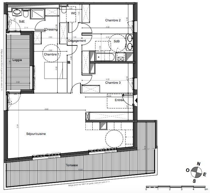 Parc Rivière - T4 de 114 m2 avec triple exposition, une loggia exposée Ouest, une terrasse exposée Ouest et 2 parkings
