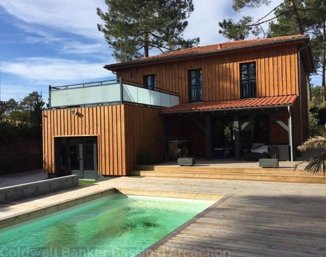 villas/maisons en bois avec piscine bassin arcachon