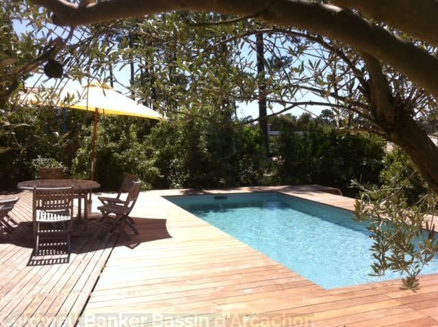 Villa à louer avec terrasse ensoleillée et piscine dans quartier tranquille proche cap-ferret