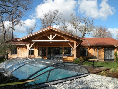 Acheter une villa neuve architecture bois à Andernos - 4 chambres - piscine chauffée - frais de notaire réduits