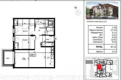 appartement T3 idéal pied à terre a vendre a arcachon
