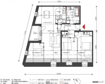 T4 à vendre appartement avec loggia et vue sur la garonne à Bordeaux darwin