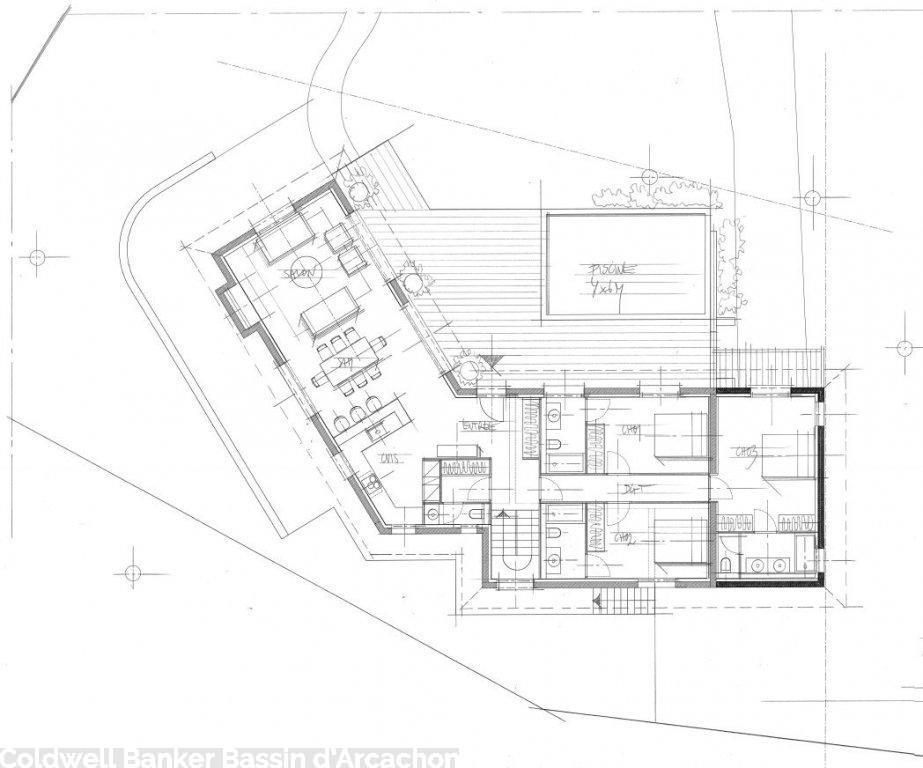 Plan de maison avec 6 chambres pyla sur mer gaume