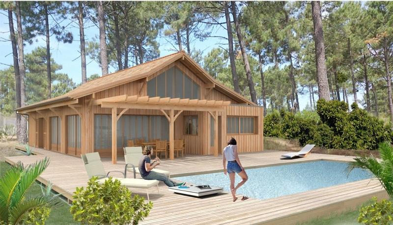 Projet construction de cabane en bois a vendre cap ferret 44ha